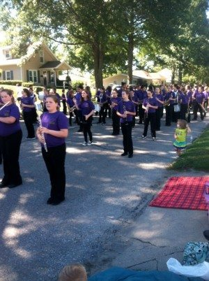 The Nebraska City Middle School band preparing to perform in the Arbor Day parade 2013