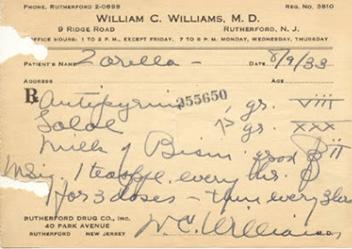 William Carlos Williams prescription pad