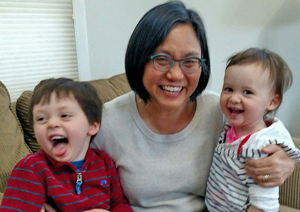Linda Sue Park and her grandchildren