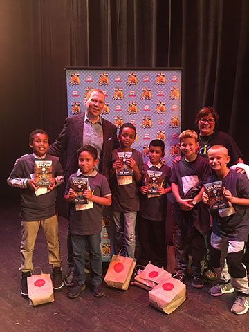 Dav Pilkey and several of the boys from Room 212
