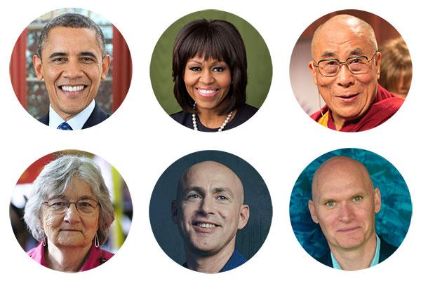 Barack Obama, Michelle Obama, Dalai Lama, Katherine Paterson, Andy Puddicombe, Anthony Doerr