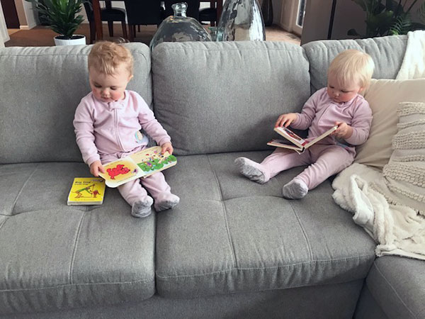 Hayes and Myles share some reading time