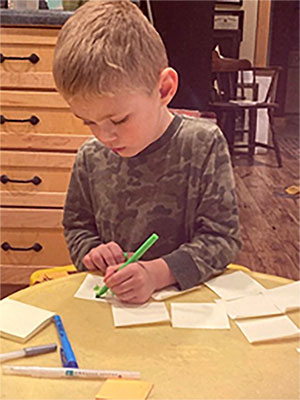 Finley the author working on his book