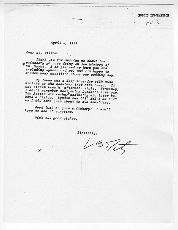 Lady Bird Johnson letter
